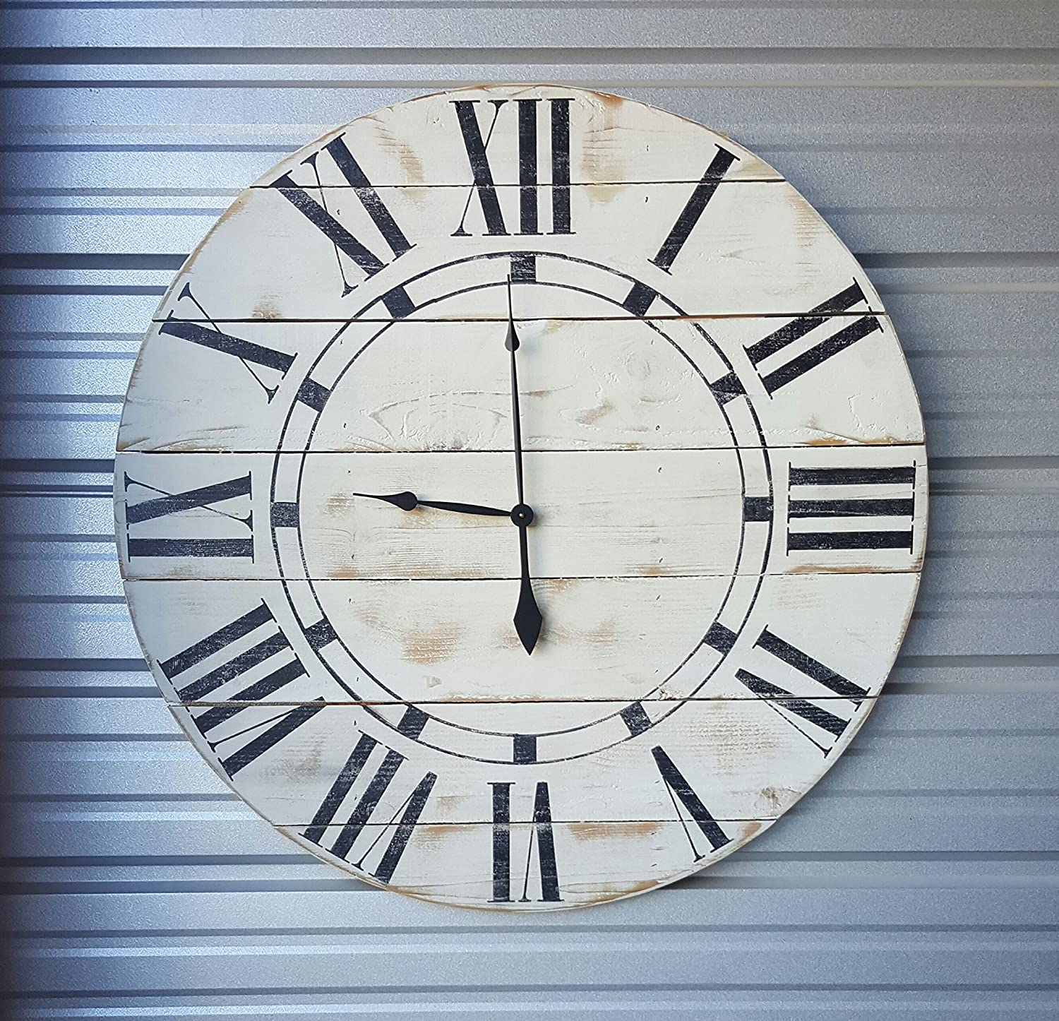 Amazon 29in riley wood wall clock fixer upper style clock amazon 29in riley wood wall clock fixer upper style clock farmhouse wall clock with distressed white finish and black roman numerals handmade amipublicfo Gallery