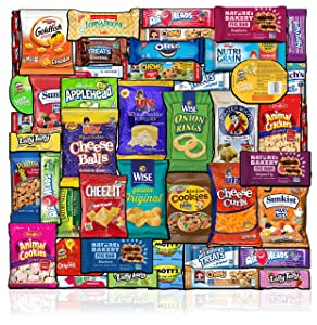 Care Package (48 Count) Snacks Food Cookies Chocolate Bar Chips Candy Ultimate Variety Gift Box Pack Assortment Basket Box Bundle Mix Bulk Sampler College Students Office