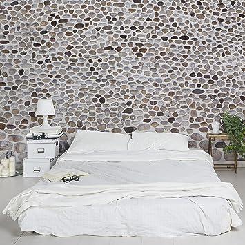 Fototapete | Steintapete Andalusische Steinmauer   Vliestapete PREMIUM  Querformat | Tapete Steinoptik Grau Weiss | Vlies
