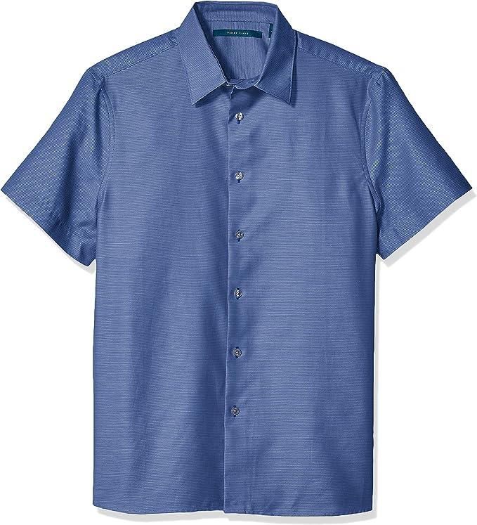 Perry Ellis Camisa Dobby de rayas horizontales para hombre