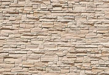 FOTOTAPETE ,,Asian Stonewall 101u0027 366 X 254cm Steinwand Mauer Steine 3D  Beige Asien