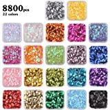 DIYASY 8800 Pcs 6MM Bulk Loose Sequins, 22 Colors Round Embroidery Sequins Cup Craft Sequins with Holes for DIY.