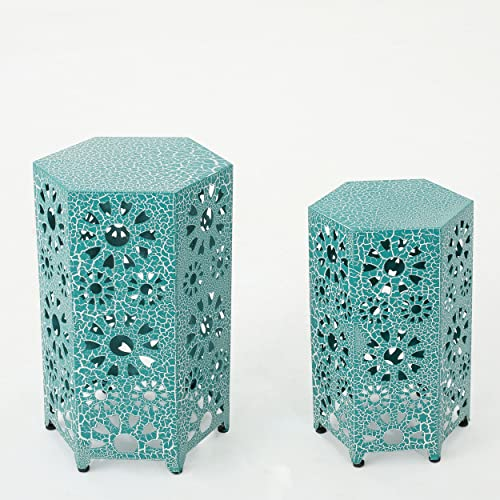 Wembaum Indoor 12 Inch and 14 Inch Crackle Teal Sunburst Iron Side Table Set