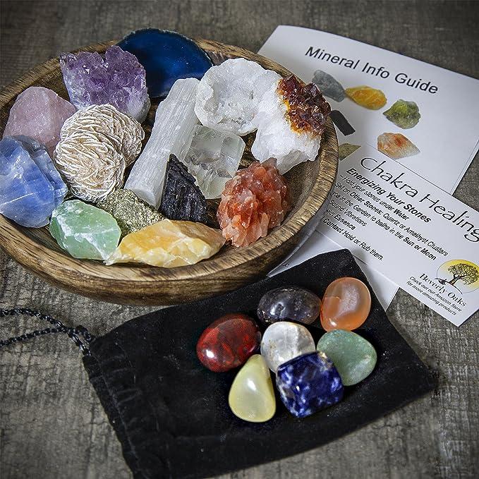 21 Healing Crystals and Chakra Kit: Amethyst, Selenite, Pyrite, Clear  Quartz, Half Geode, Rose Quartz, Citrine, Desert Rose, Agate, Tourmaline  and 4