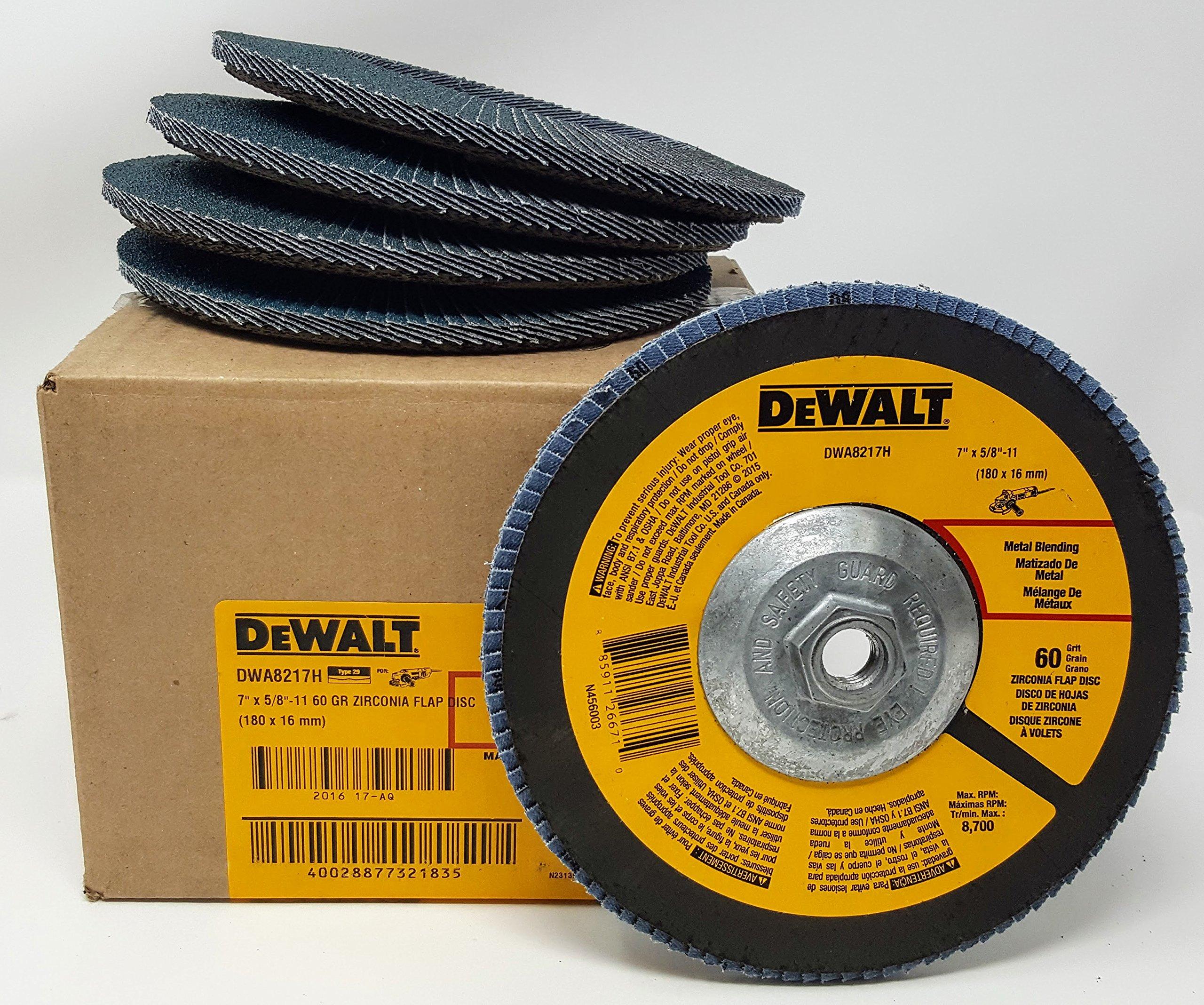 (5-PK) DEWALT DWA8217H 7'' X 5/8-11 Thread T29 60 GRIT FLAP DISCS