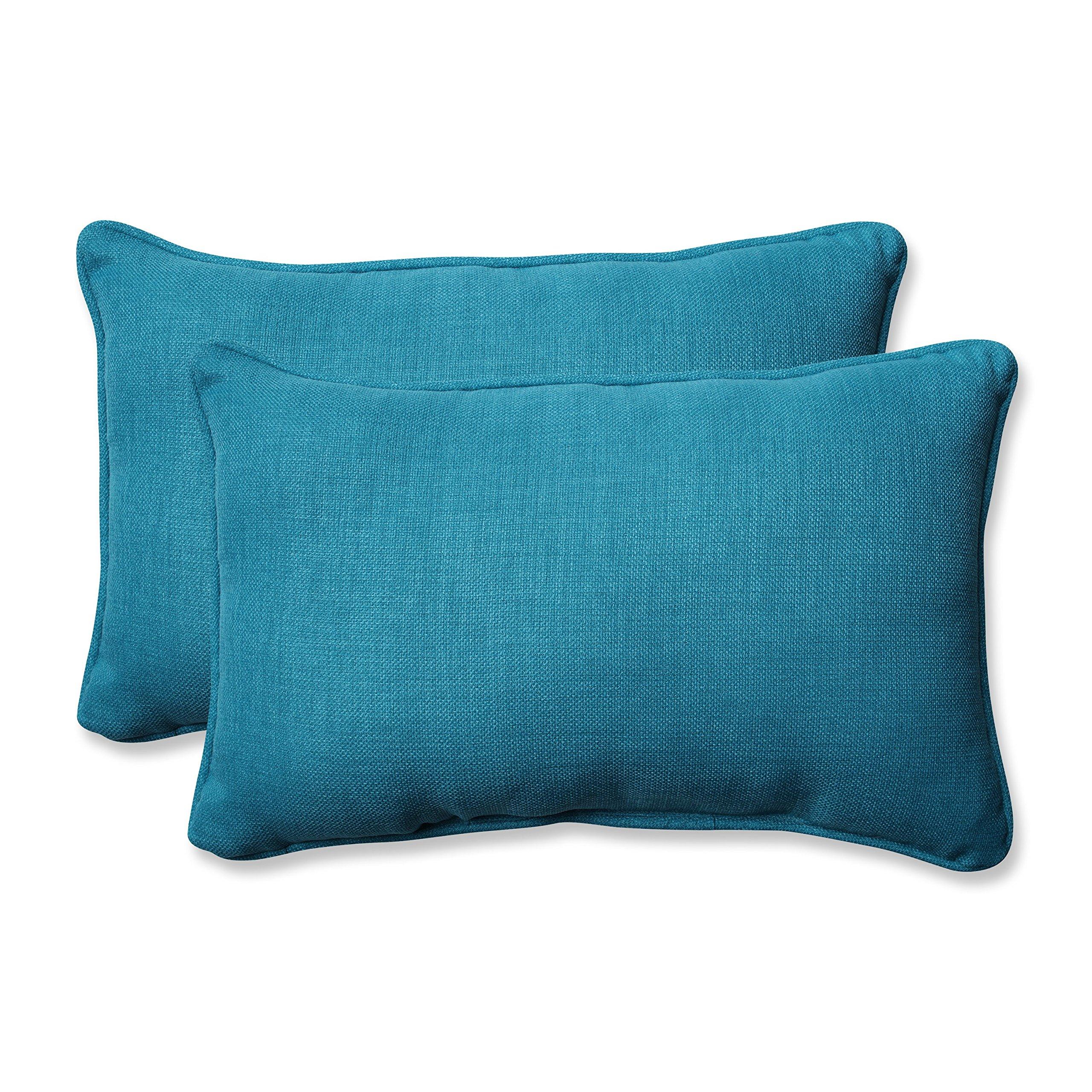 Pillow Perfect Outdoor/Indoor Rave Peacock Rectangular Throw Pillow (Set of 2)