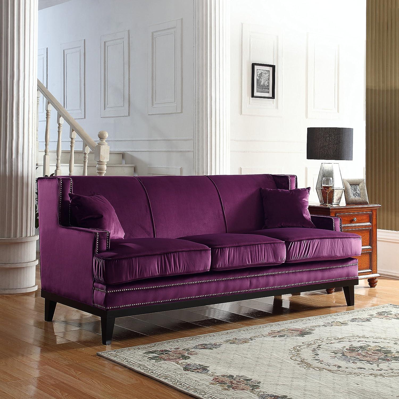 Amazon: Modern Soft Velvet Sofa With Nailhead Trim Detail (Purple):  Kitchen & Dining
