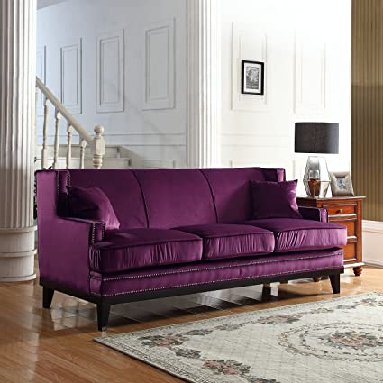 Divano Roma Furniture Modern Soft Velvet Sofa With Nailhead Trim Detail ( Purple)