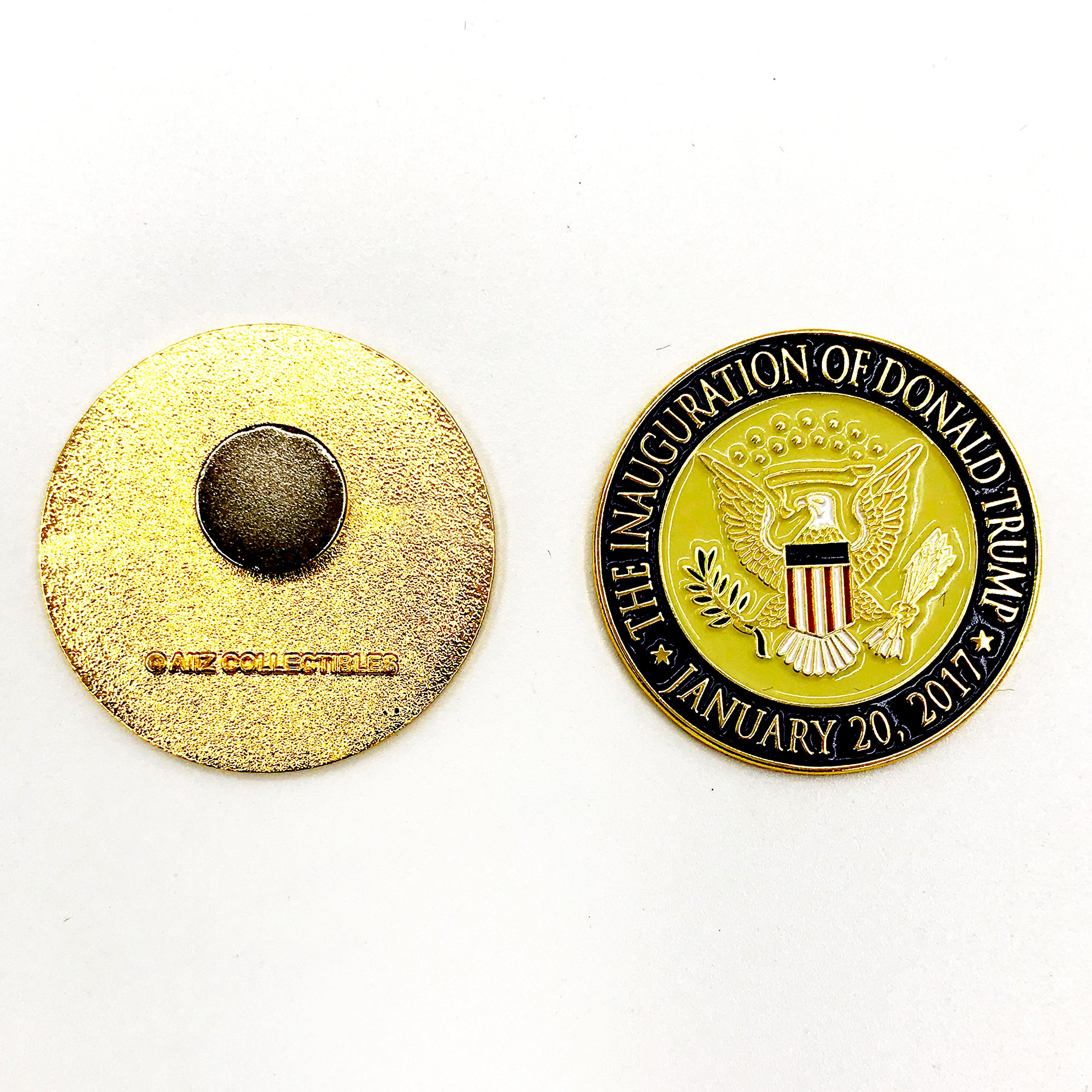 Trump Coin, 58th Presidential Inauguration of Donald J. Trump Challenge Coin by AIIZ Collectibles, 1.75'' Diameter in Shinny 24K Gold & 925 Silver Plating, packaged in Black Velvet Case by AIIZ Collectibles (Image #8)