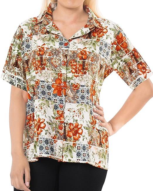 LA LEELA botón de la Blusa de la Playa de Las Mujeres Abajo Naranja Informal Camisa