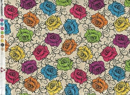Amazoncom David Textiles Fabric Multi Colored Rose Crown Fabric