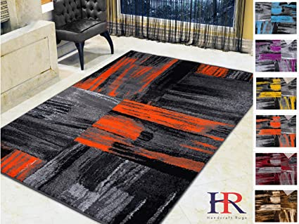 Handcraft Rugs Orange Gray Silver Black Abstract Contemporary Modern Brush Design Mixed Colors Area Rug