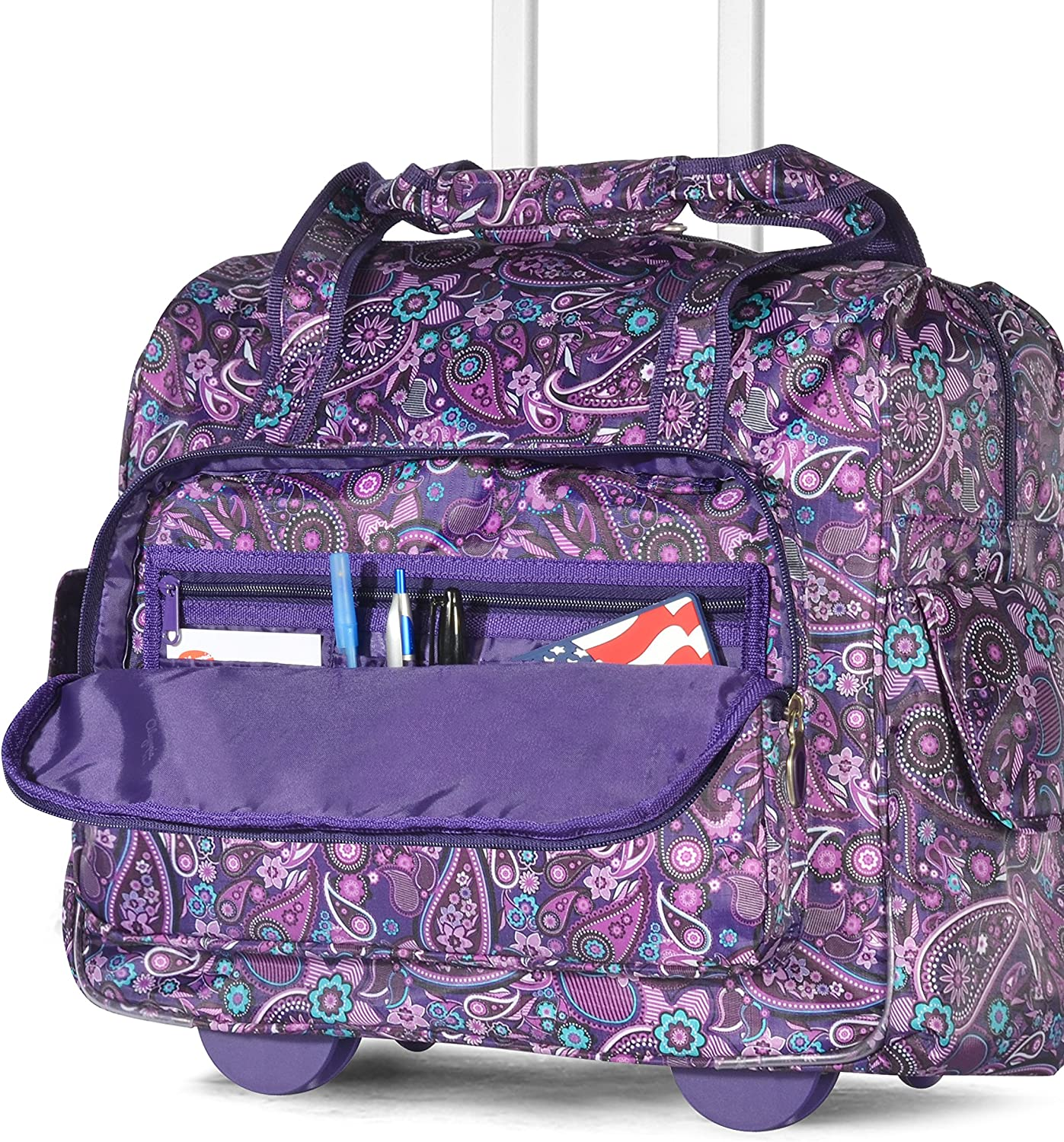 One Size Paisley Olympia Deluxe Fashion Rolling Overnighter