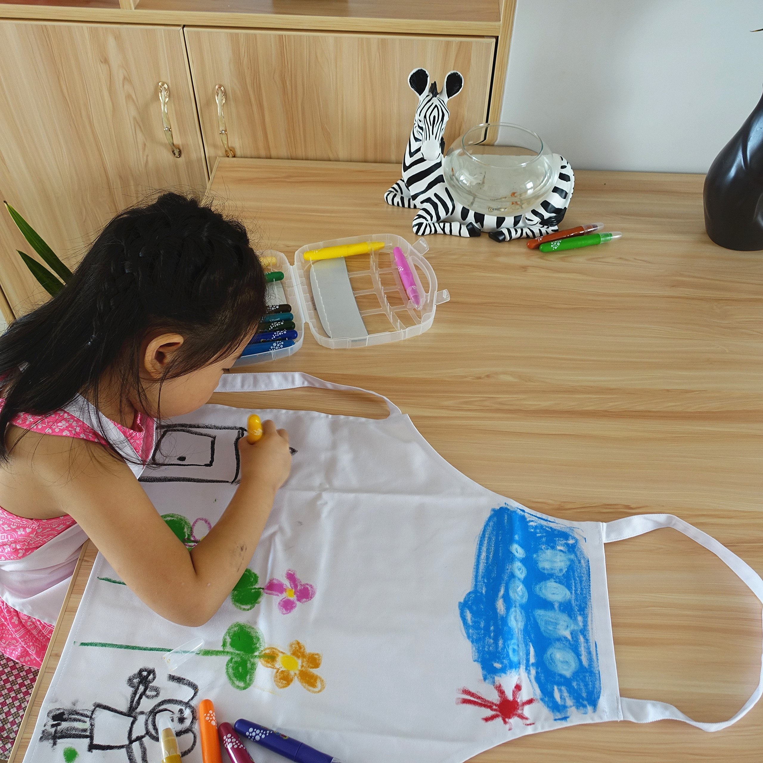 2 Pc-White kids'chef apron and hat set for cooking,baking,painting or decorating party (1-3Years) by MULAN (Image #8)