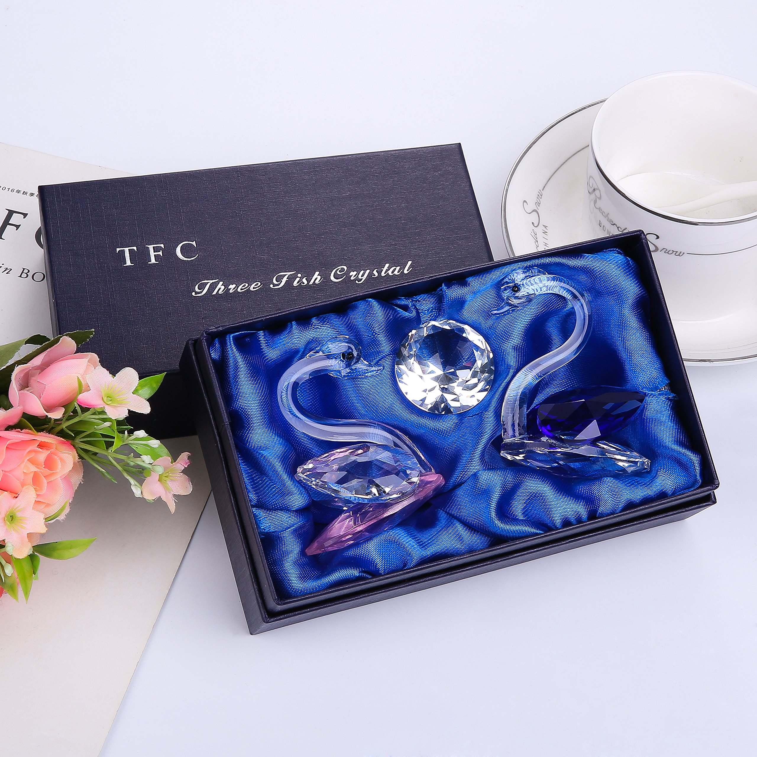 THREE FISH CRYSTAL 2 Pcs Super Cute Crystal Swan Statue, Collection Cut Glass Decorative Statue Animal Collection Couple Suit. by THREE FISH CRYSTAL (Image #3)