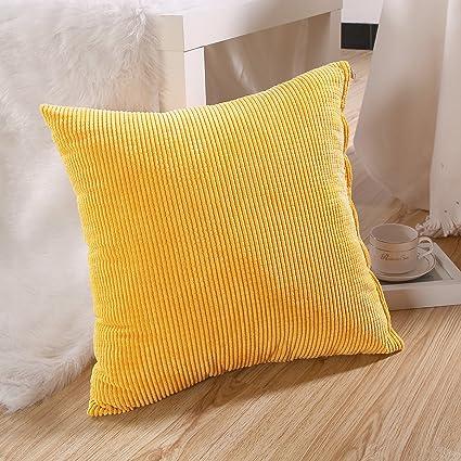 Zhiyuan Funda de almohada cuadrada decorativa de pana 60x60cm amarillo