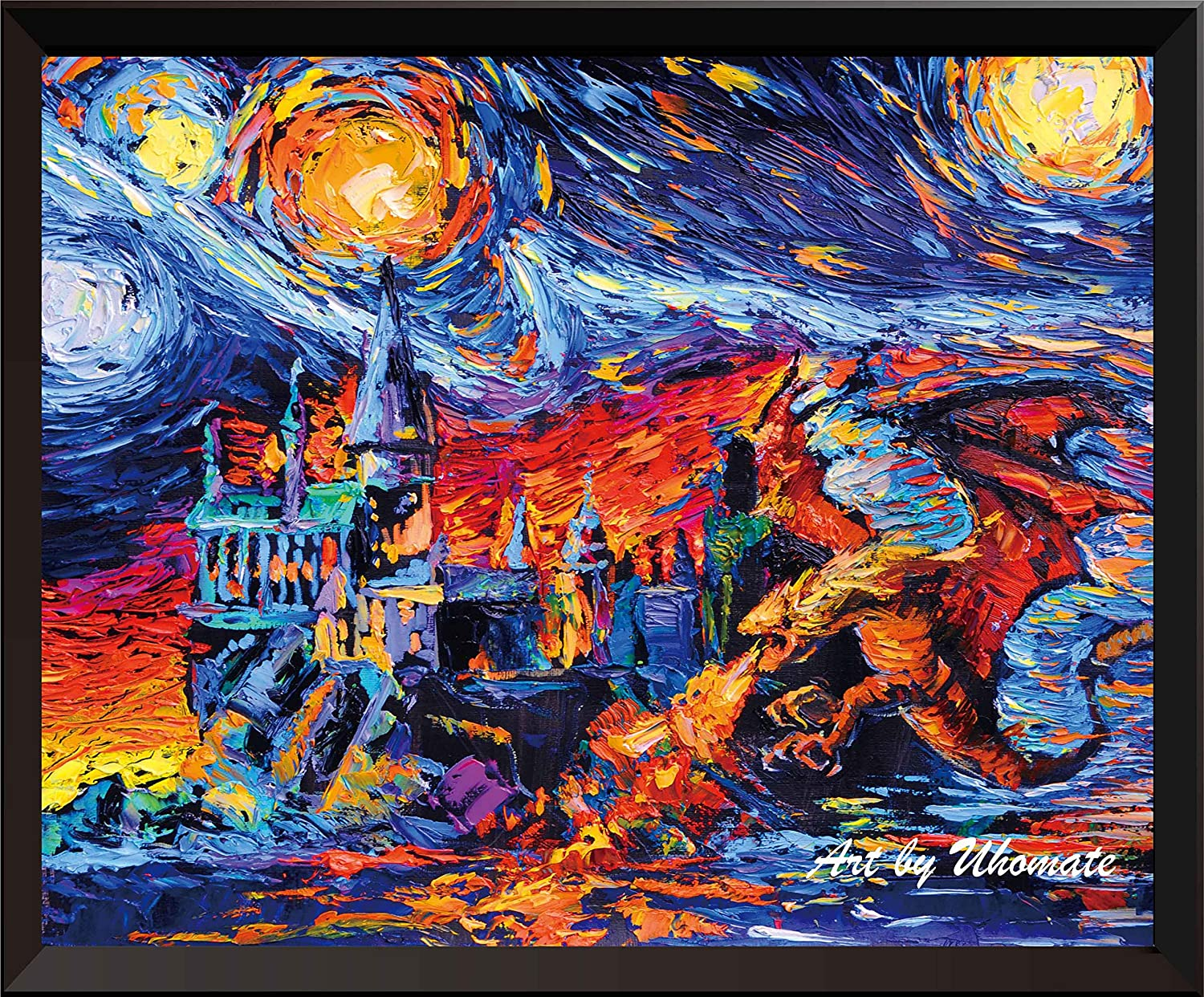 Uhomate Vincent Van Gogh Starry Night Posters Harry Potter Inspired Dragon and Hogwarts Castle Home Canvas Wall Art Baby Gift Nursery Decor Living Room Wall Decor A002 (5X7)