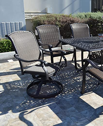 Santa Clara Cast Aluminum Set of 6 Swivel Rocker Patio Dining Chairs