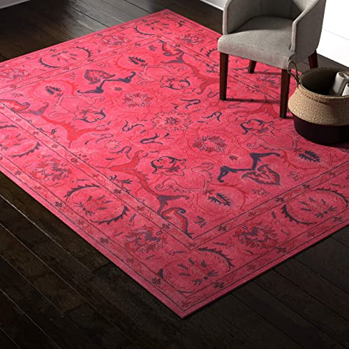 Amazon Brand Rivet Pink Global Floral Wool Rug, 9 8 x 7 8 , Pink