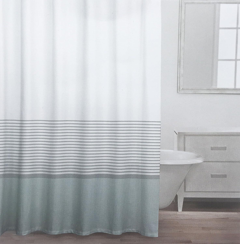 Caro Fabric Shower Curtain Wide Light Green Stripe and Thinner Metallic Silver Stripes -- St Mortiz, Stream Caro Home