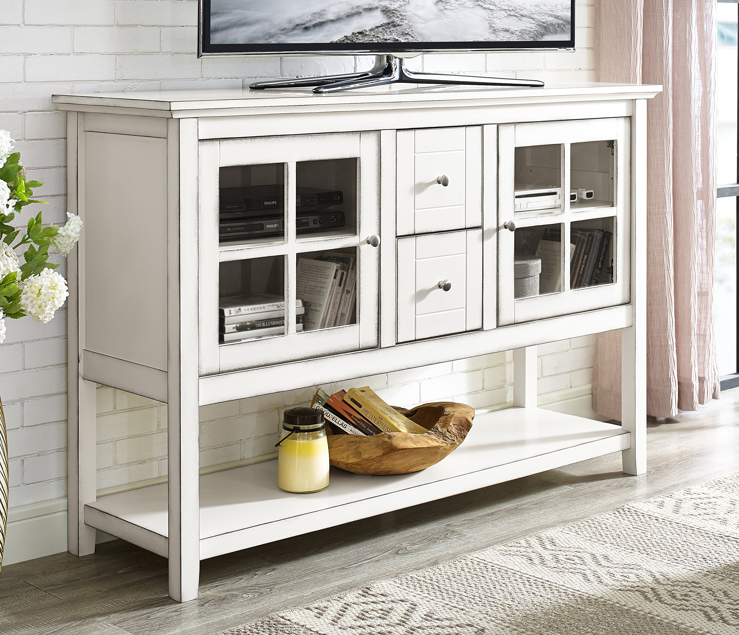 WE Furniture 52'' Wood Console Table Buffet TV Stand - Antique White