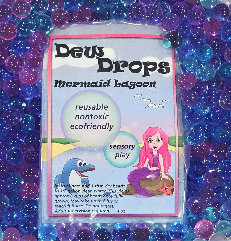 Mermaids Seahorse and Dolphin Toy Animals Included SENSORY4U Dew Drops Ocean Water Beads Mermaid Lagoon Tactile Sensory Toys Bin Kit