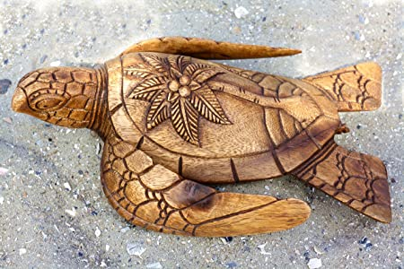 G6 COLLECTION 12 Long Wooden Hand Carved Turtle Tortoise Statue Figurine Sculpture Handcrafted Handmade Decorative Home Decor Accent Rustic Seaside Tropical Nautical Ocean Coastal Decoration