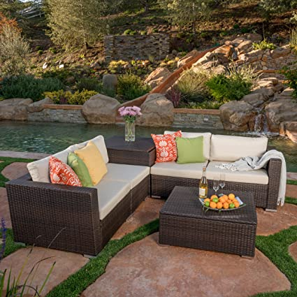 Great Deal Furniture Cortez Sea 6 Piece Outdoor Wicker Sectional Sofa Set  with Storage
