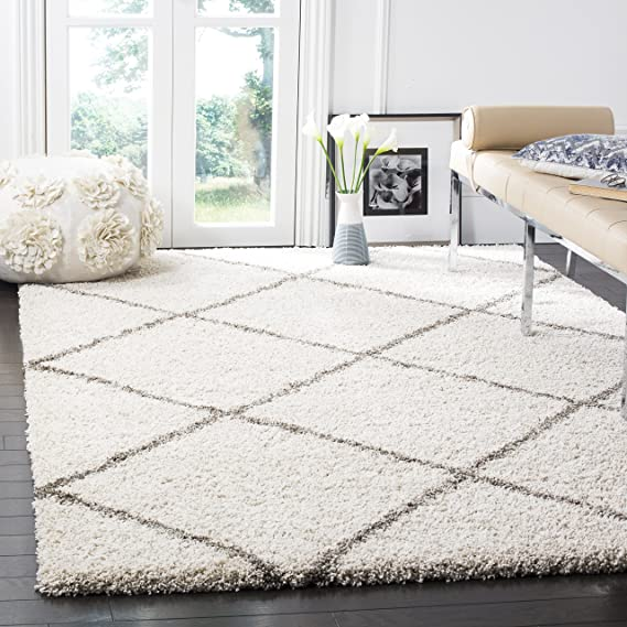 "Safavieh Hudson Shag Collection Sgh281 A Ivory And Grey Moroccan Diamond Trellis Area Rug (5'1"" X 7'6"") by Safavieh"