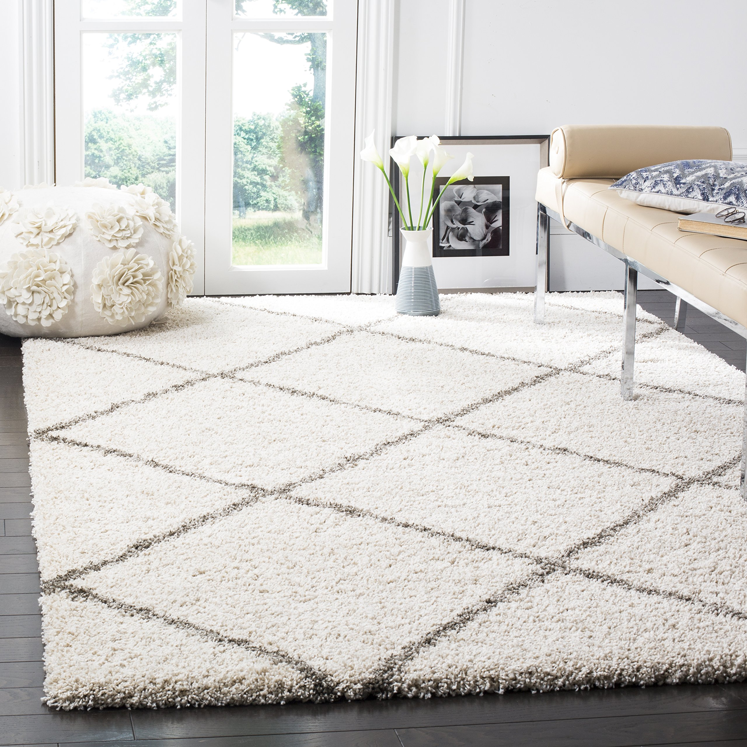 Safavieh Hudson Shag Collection SGH281A Ivory And Grey Moroccan Diamond  Trellis Area Rug (4u0027