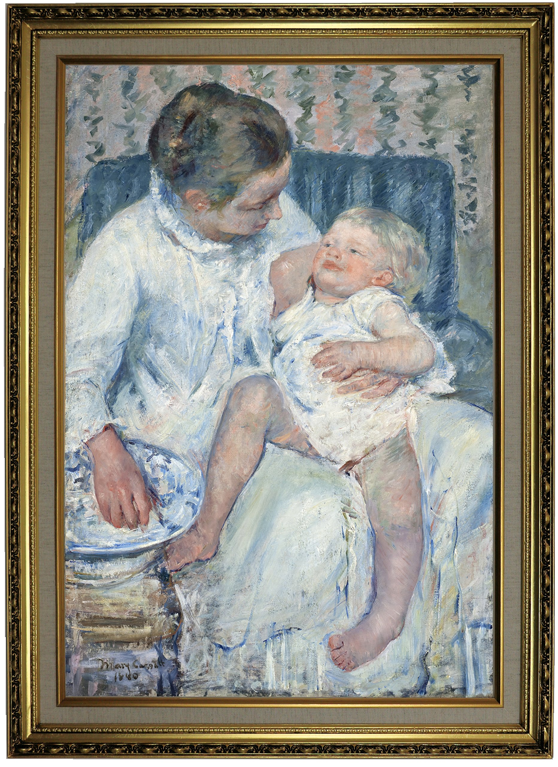Historic Art Gallery Mother about to Wash Her Sleepy Child by Mary Cassatt Framed Canvas Print, 19'' x 28'', Gold Lined