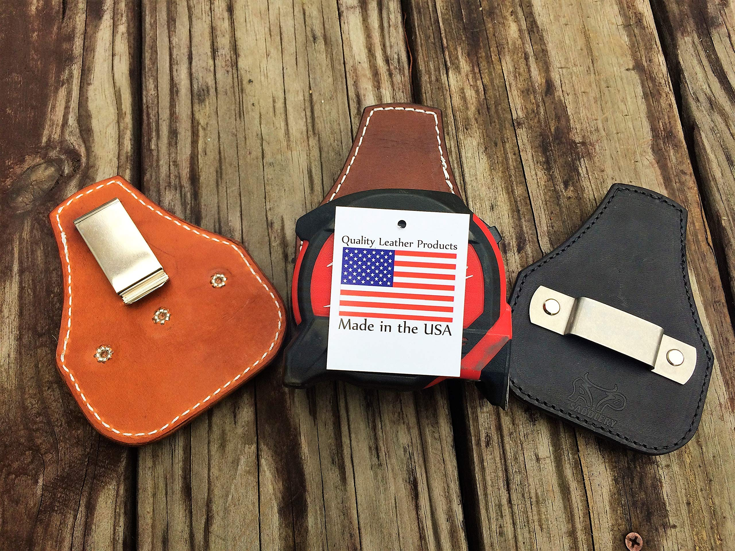 Low Profile Leather Tape Measure Holder with Belt Clip (Dark Brown)