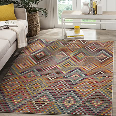 Safavieh Monaco Collection MNC204F 9 x 12 Synthetic Modern Geometric Diamond Polka Dot Multi and Beige Area Rug