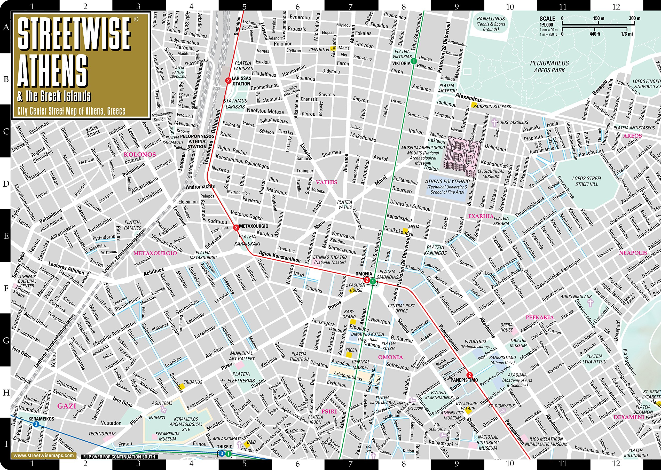 Subway Map Athens Greece.Streetwise Athens Map Laminated City Center Street Map Of Athens