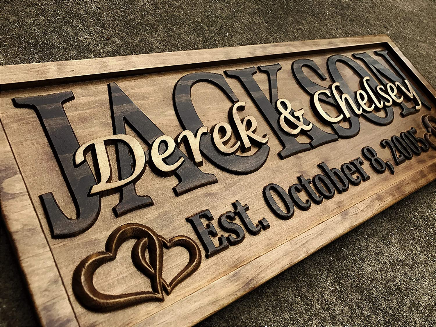Personalized Wedding Gift Last Name Established Sign Family Name Signs Custom Wood Sign Carved Wood Decor 3D Hearts Couples Sign 5 Year Anniversary Gift