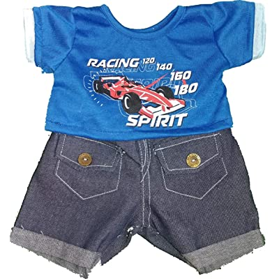 "Cool Racecar Outfit Fits Most 14""-18"" Build-a-Bear and Make Your Own Stuffed Animals: Toys & Games"