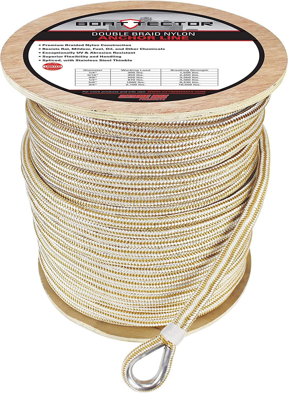 "3//4/""x 50 Feet DOUBLE BRAID NYLON ROPE Gold//White anchor dock pull tow"