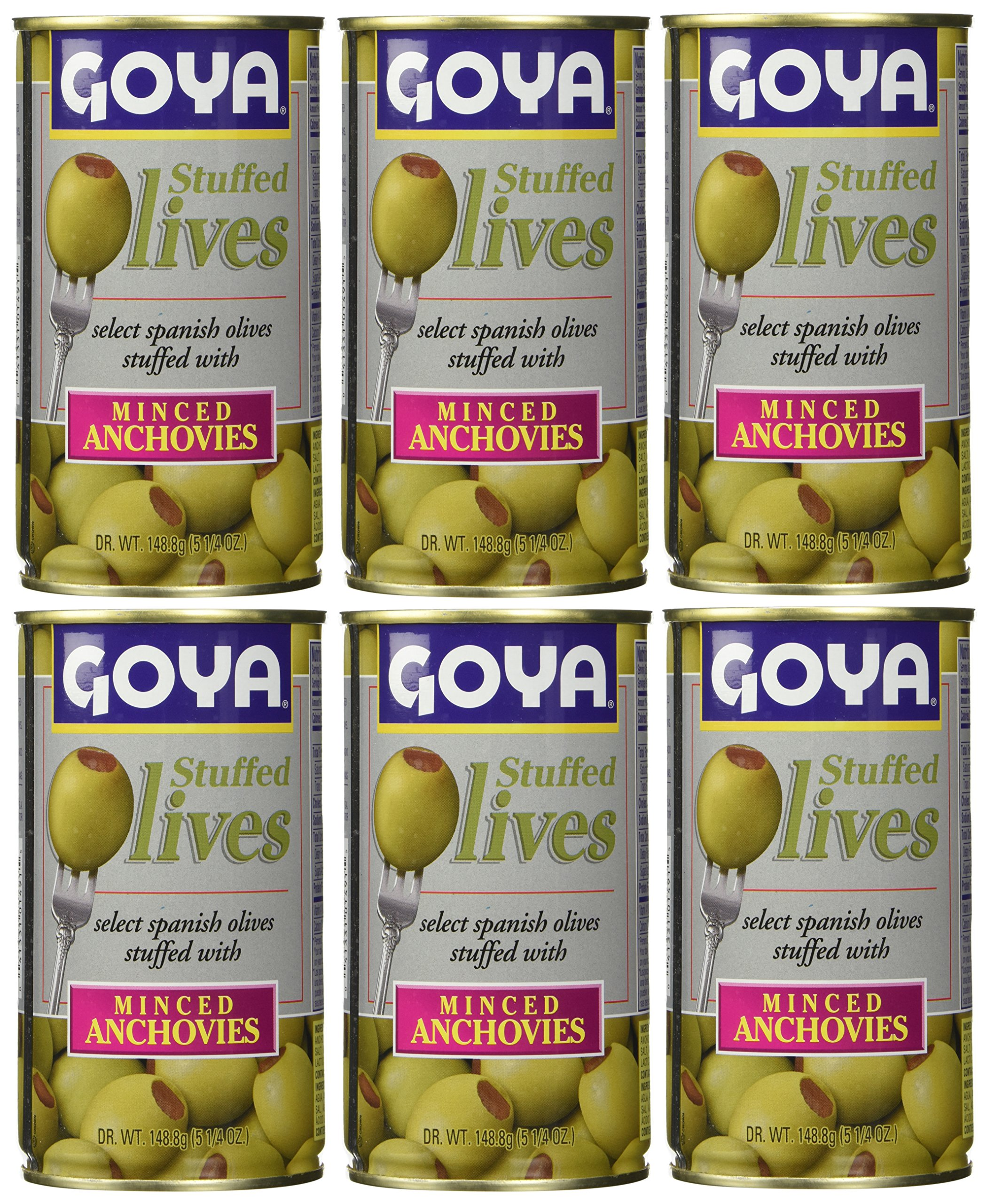 Goya Stuffed Olives Minced Anchovies 5.25 Ounces (Pack of 06)