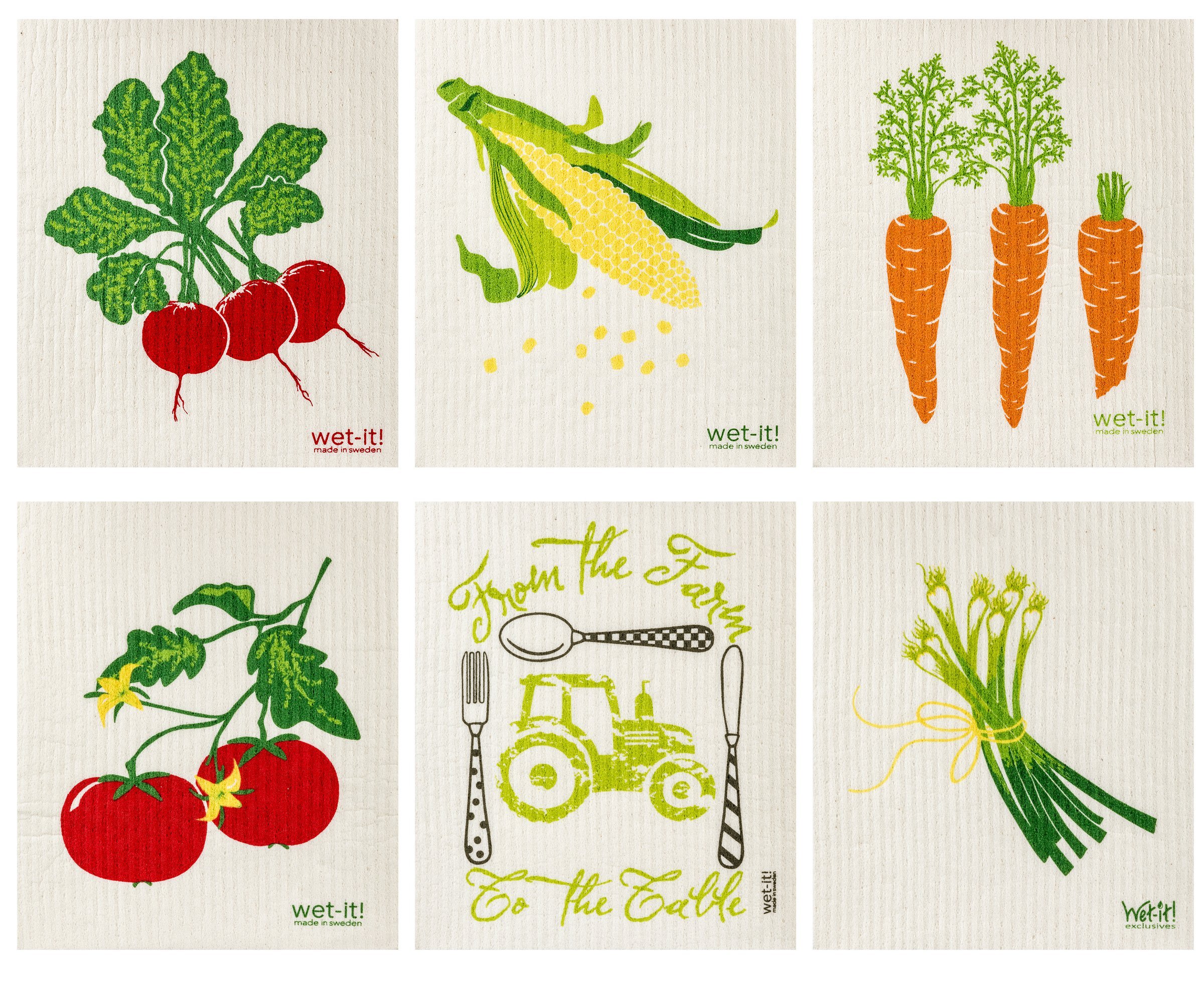 Wet-It Swedish Dishcloth Set of 6 (Tractor, Tomato, Corn, Raddishes, Onions, Carrots - Farm to Table)