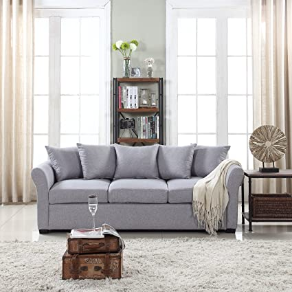 . DIVANO ROMA FURNITURE Classic and Traditional Ultra Comfortable Linen  Fabric Sofa   Living Room Fabric Couch  Light Grey
