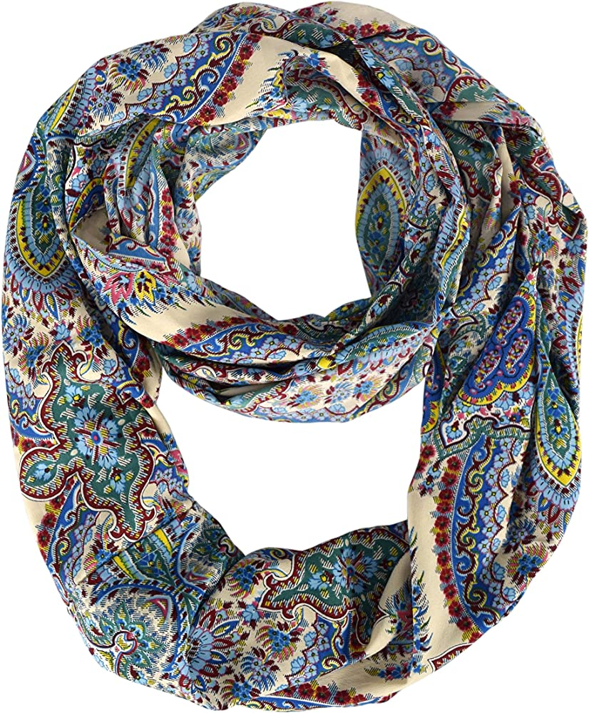 867cb1f18acb8 Peach Couture Womens Scarf Graphic Bohemian Henna Print Paisley Scarf Blue Scarf  Infinity Scarf Blue