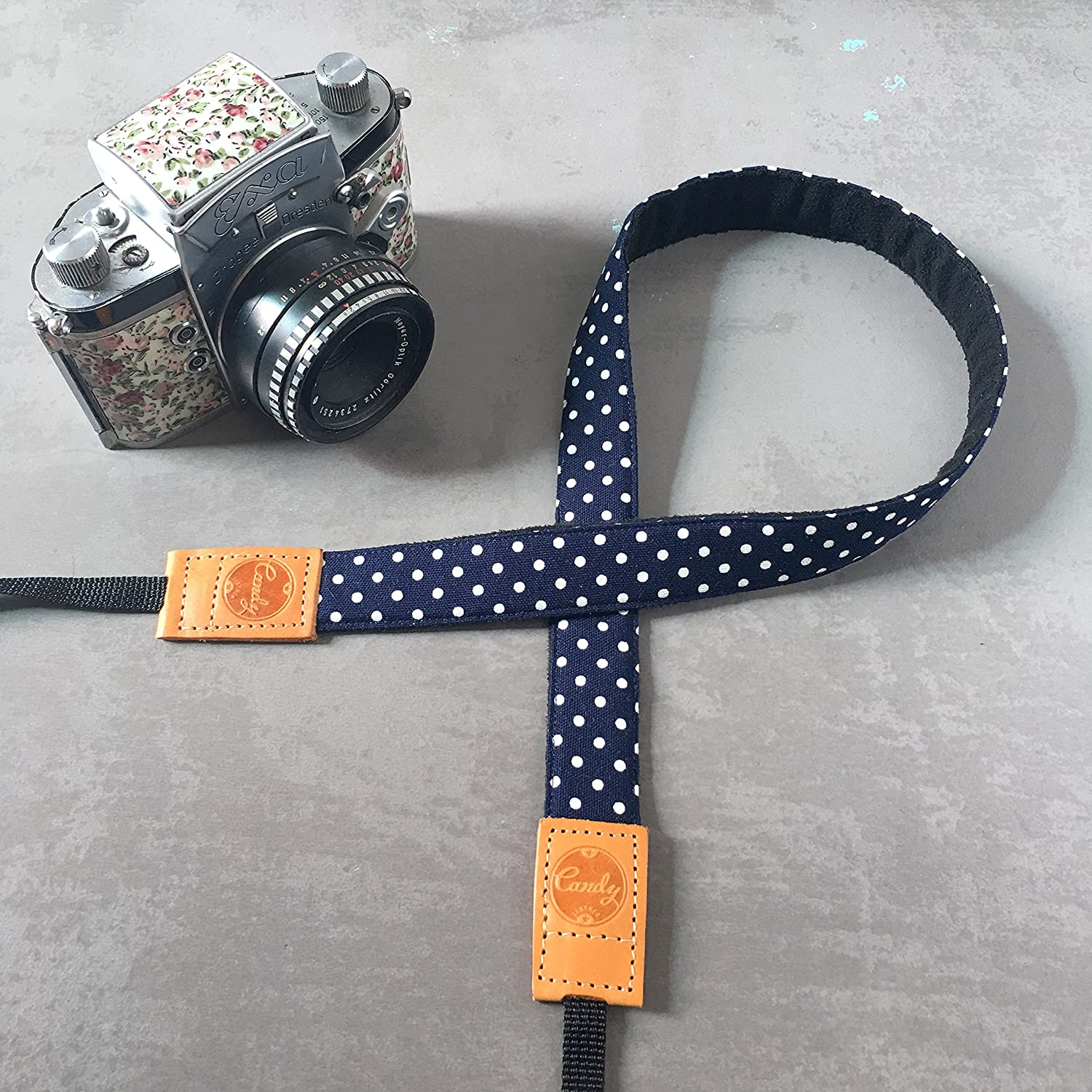 Genuine leather camera Strap Presonalized Navy Polkadot Camera strap,Candy Leather Mirrorless Camera Strap