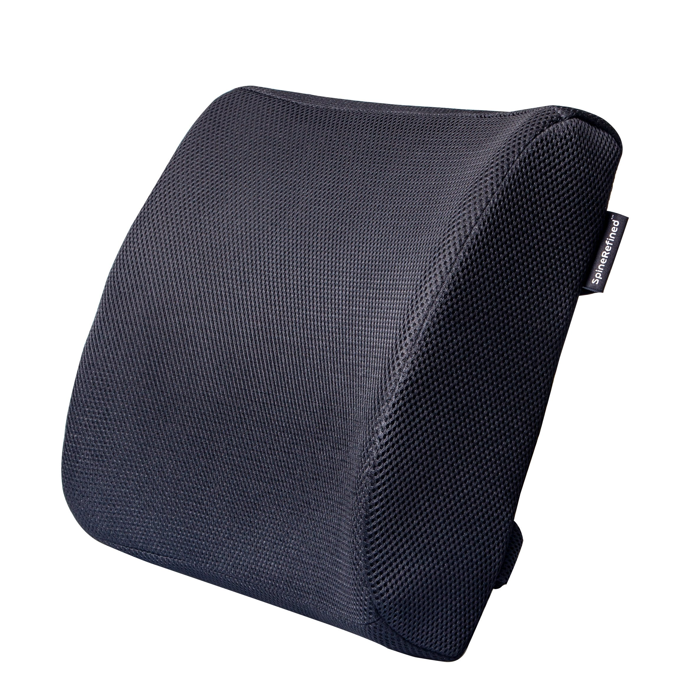 Lumbar Back Support Pillow by SpineRefined - Premium Memory Foam Orthopedic Cushion Provides Optimal Spine Comfort for Car, Office Chair, Couch, or Recliner - Breathable Machine Washable 3D Mesh Cover