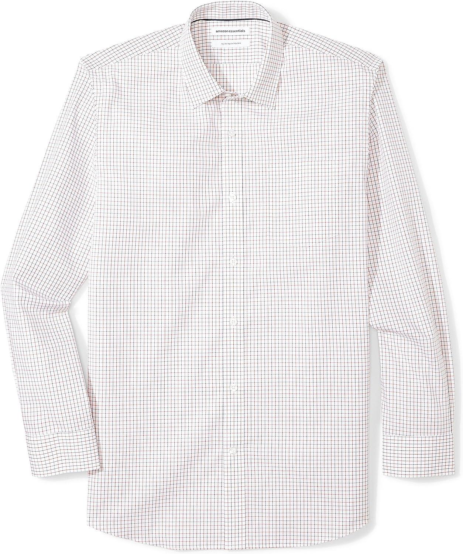 Essentials Regular-Fit Wrinkle-Resistant Long-Sleeve Plaid Dress Shirt Uomo