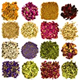 Dried Flowers and Herbs Accessories Decorations -16 Bags Set Dry Flowers Essential Supplies Rose Buds Lavender Chamomile Jasm