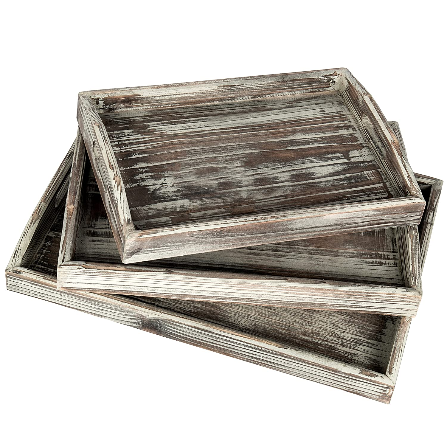 Country Rustic Torched Wood Nesting Breakfast Serving Trays with Handles, Set of 3 MyGift COMIN18JU074748