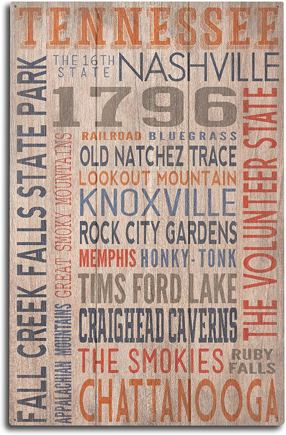 Lantern Press Tennessee - Rustic Typography (10x15 Wood Wall Sign, Wall Decor Ready to Hang)