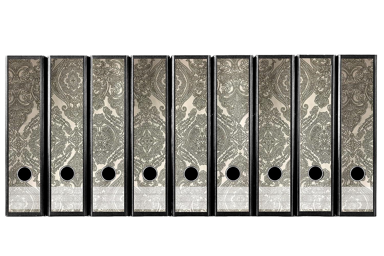 codiarts Set 9pezzi larghezza Etichette per raccoglitori–Vintage Design con ornamenti grigio beige–autoadesivo (raccoglitori di Sticker) codiarts.