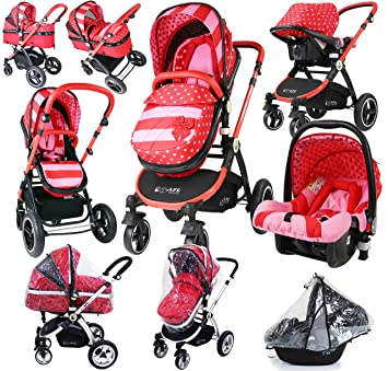 Carrito de bebé, lujoso, con sistema i-Safe 3 en 1, completo, con asiento para coche y cobertor de lluvia: Amazon.es: Bebé