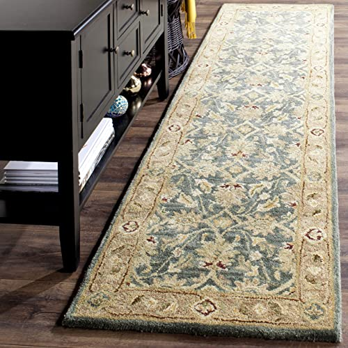 Safavieh Antiquities Collection AT849B Handmade Traditional Oriental Teal Blue and Taupe Wool Runner 2 3 x 8